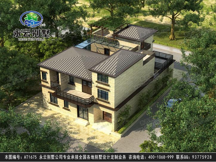 永云别墅at1675现代中式带内庭院三层别墅设计图纸13mx18.04m图片
