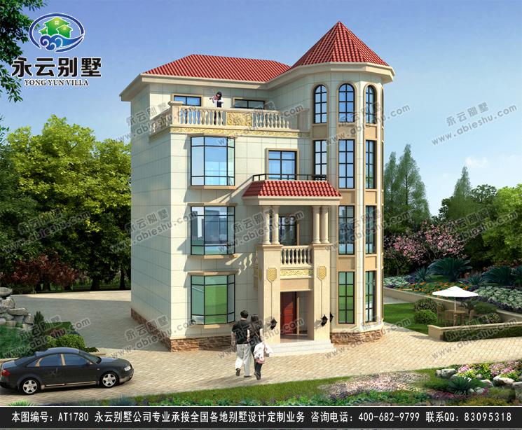 at1780私人定制簡歐四層復式樓漂亮別墅設計圖紙10.8mx12.3m