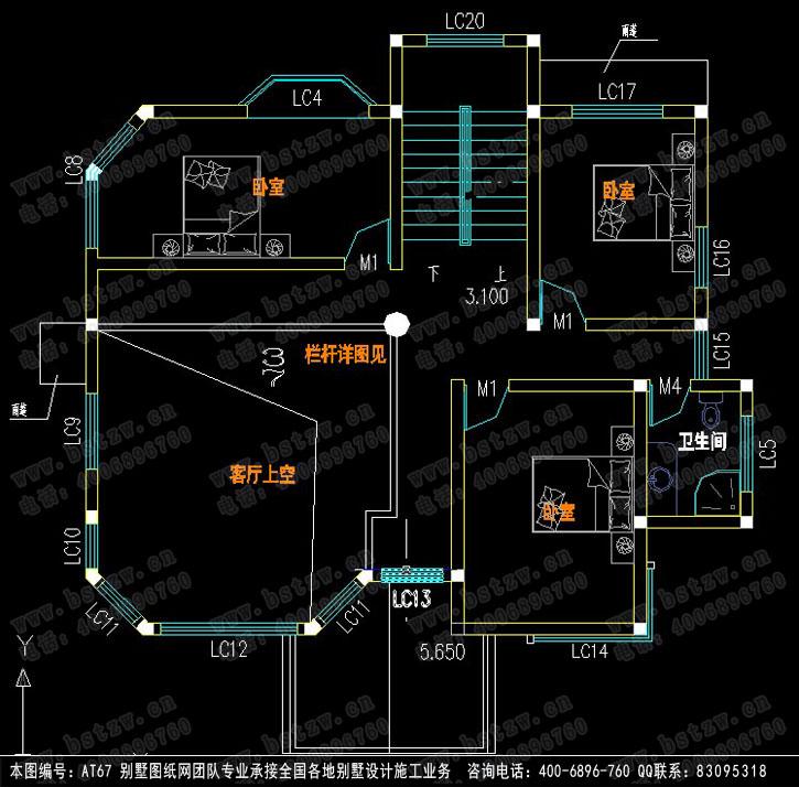 三层欧式别墅三层平面图