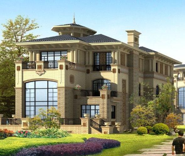 欧陆风格复式别墅设计效果图欣