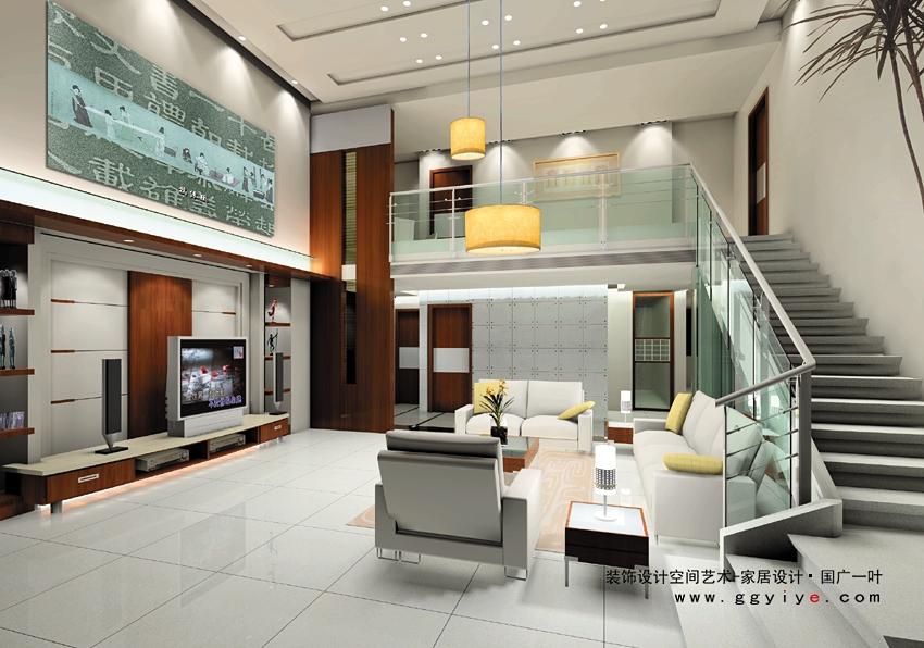 别墅复式客厅旋转楼梯装修效果图