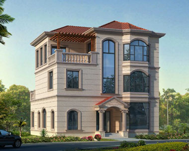 现代风格三层复式别墅带阳台和景观露台