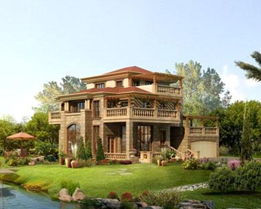 滇缅风格别墅造型效果图