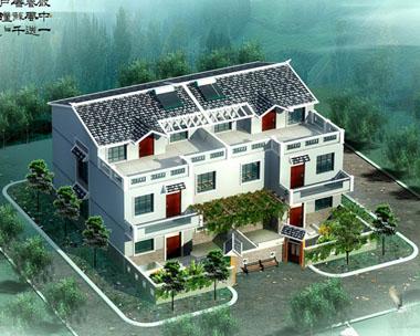 简洁三层双拼别墅设计图