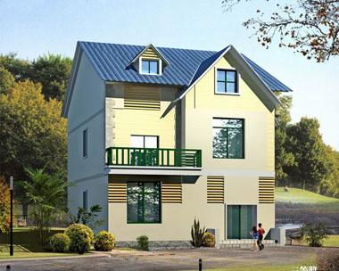 简单实用欧式二层半别墅图