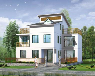 三层简洁中式新农村别墅图