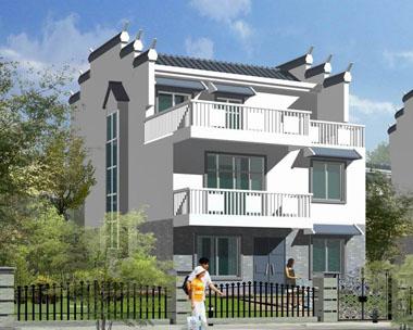 现代中式徽派三层带露台阳台别墅图