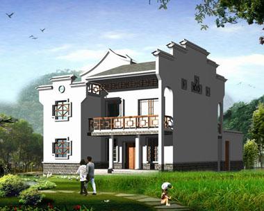 中式古建风格二层豪华别墅图