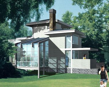 现代二层阳光别墅设计效果图