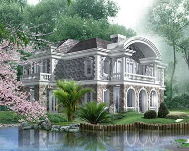 二层美式带阁楼豪华别墅效果图