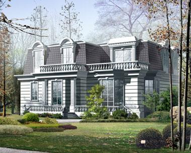 城堡型二层豪华别墅外观效果图