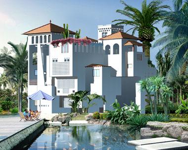 夏威夷海边度假高端豪华大型别墅效果图