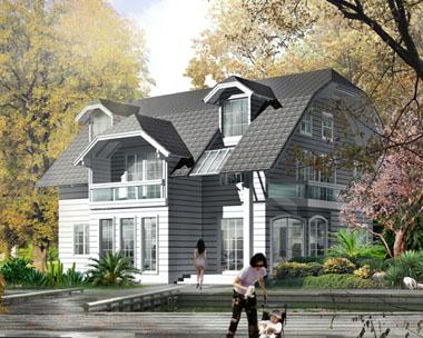 二层带阁楼独特欧式别墅设计效果图