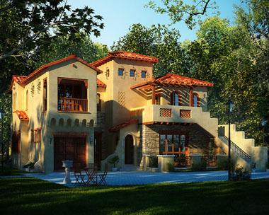 二层现代希腊别墅建筑效果图