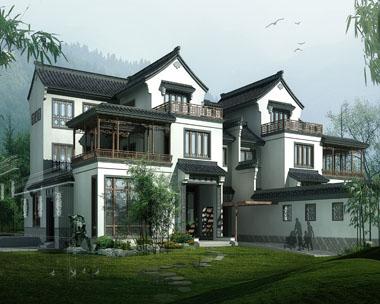 中式复古别墅风格建筑设计效果图