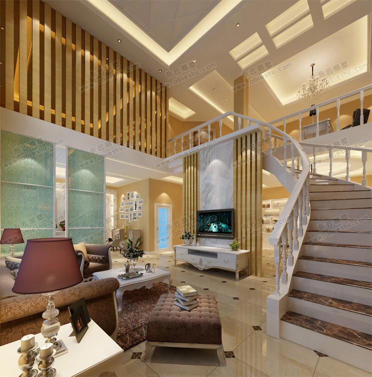 现代简洁别墅室内装修效果图