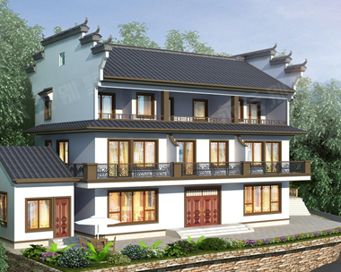 南昌市袁氏三兄弟合建新中式三层别墅设计案例图欣赏