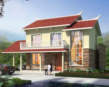 AS109宜昌远安县孙先生二层新农村中式房屋设计效果图