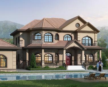 AS107浏阳杨总定制二层豪华美式风格别墅设计外观效果图