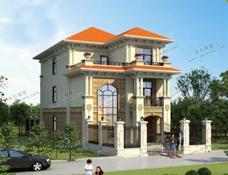 开间宽8米的3款小别墅,第3款豪华大气还带围墙花园的院子