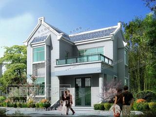 两款8米宽10米长小别墅,平、坡屋顶结合外观很别致