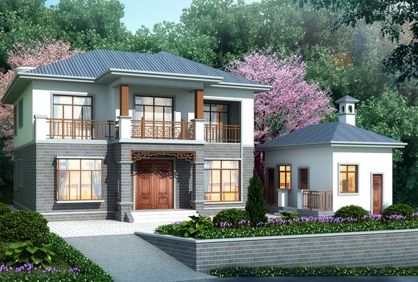 邵阳隆回县卢先生新中式二层小别墅设计案例图