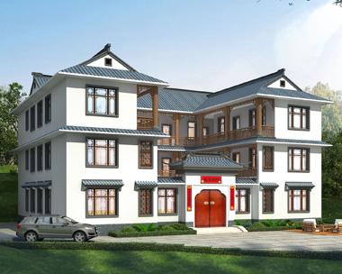 衡阳冯先生占地385平米的三层新中式四合院别墅设计图欣赏