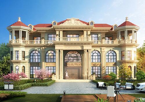 双峰胡家兄弟双拼高端气派欧式豪宅定制设计案例(占地490平)