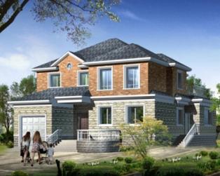 AT298二层美式风格带车库别墅设计建筑图纸15m×15m