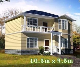[永云别墅]885新农村实用优雅二层别墅设计图纸10m×9m