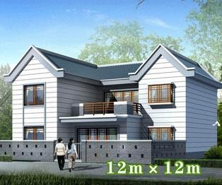 【永云别墅】AT228二层新农村带庭院全套小别墅设计图纸12m×12m