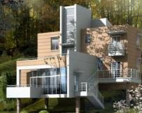 871三层坡地架空别墅全套设计图纸12m×11m