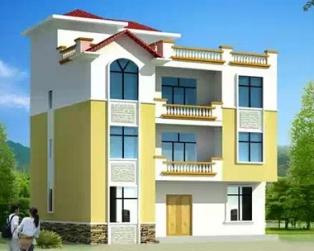 [永云别墅]AT408三层半农村现代别墅建筑全套设计图纸12.5×10m