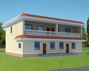 [永云别墅]AT296二层平屋顶框架结构带商铺房屋设计图纸15m×11m