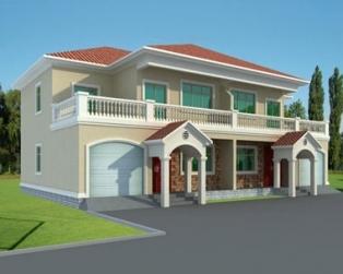 [永云别墅]AT136二层现代双拼别墅建筑结构设计图纸19m×12m
