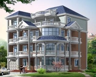 AT426四层/三层半豪华欧式别墅结构设计图纸17×16m