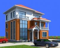 [永云别墅]AT1802高端大气三层坡顶带露台别墅建筑设计图纸12m×11m