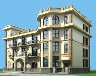 807号四层框架欧式别墅施工图 22m×13m