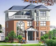 【永云别墅】AT391漂亮大气复式三层别墅建筑设计图纸 12m×13m