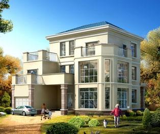 【永云别墅】AT902欧式私人别墅三层全套建筑方案图纸14m×14m