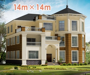 【永云别墅】AT989三层豪华欧式别墅设计全套施工图纸14m×14m