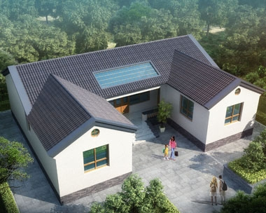 永云别墅AT226一层现代中式三合院别墅设计建筑图纸13.8mx10.8m