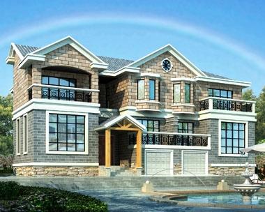 永云别墅AT241二层复式双拼带车库别墅设计图纸19.2mx13.5m