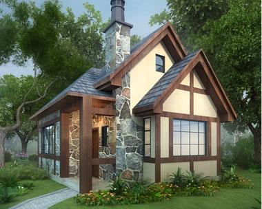永云别墅AT1641一层英伦风度假休闲小别墅设计图纸8mx6m