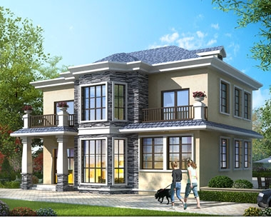 永云别墅AT1642二层简欧带内阳台别墅建筑施工图纸13mx10m