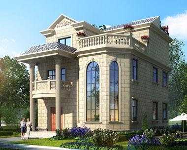 永云别墅AT1643新农村自建房三层小别墅设计图纸9.8mx11.5m