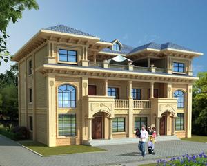永云别墅AT1729三层联体简欧共露台别墅建筑设计图纸17.7mx12.1m