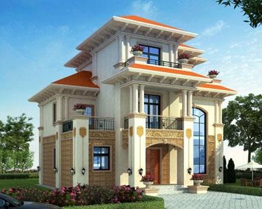 占地120平米AT1738三层豪华欧式农村私人别墅设计施工图纸12mx10.3m