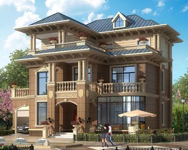 占地160平米AT1740四川资阳三层带车库别墅设计图纸14.5mx13.1m