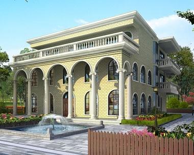 AT1613三层复式俄罗斯风格平顶豪华别墅设计图纸13.8mx17.7m